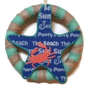 "14"" Beach Wreath, Nautical Wreath, Beach Decor"